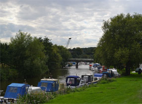 Moorings on the River Medway at Wateringbury