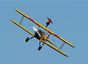 Wing walking on a bi-plane