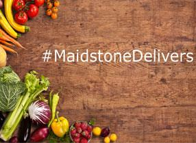 Maidstone Delivers, green groceries on a board