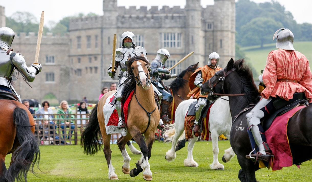 Jousting tournament at Leeds Castle, Maidstone.