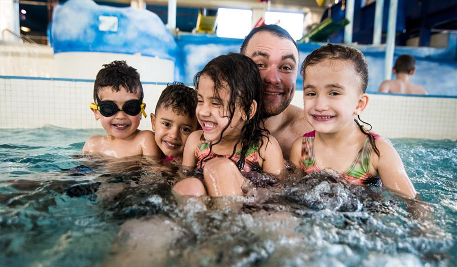 Family in the pool at Maidstone Leisure Centre