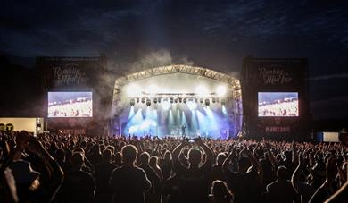 Ramblin Man Fair stage at night.